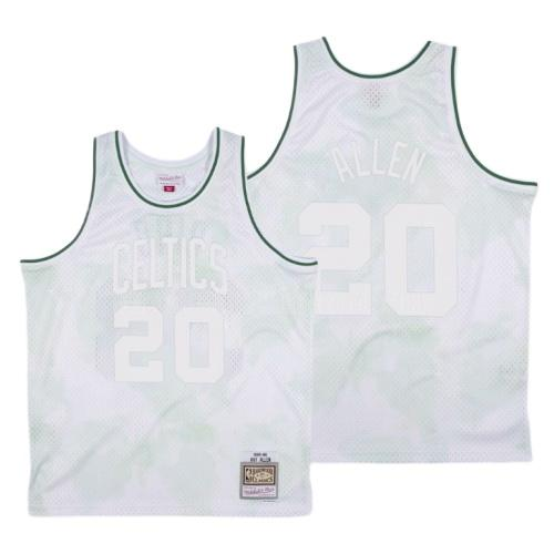 camiseta boston celtics ray allen 20 blanco cielos nublados hombres 1985-86