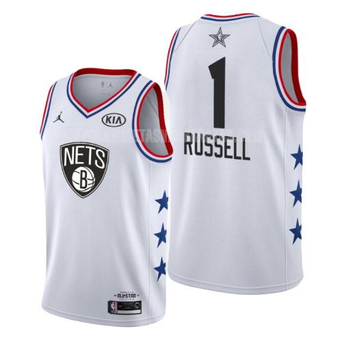 camiseta brooklyn nets d'angelo russell 1 blanco nba all-star hombres 2019