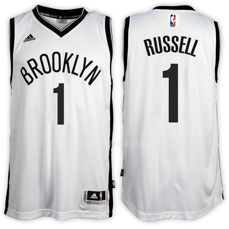 camiseta brooklyn nets d'angelo russell 1 blanco primera hombres