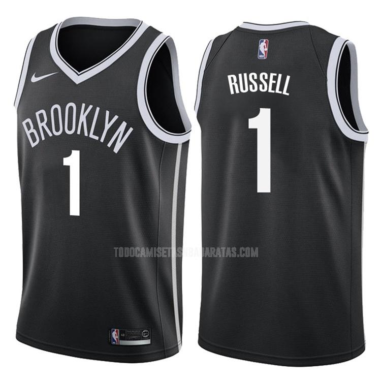 camiseta brooklyn nets d'angelo russell 1 negro icon hombres 2017-18