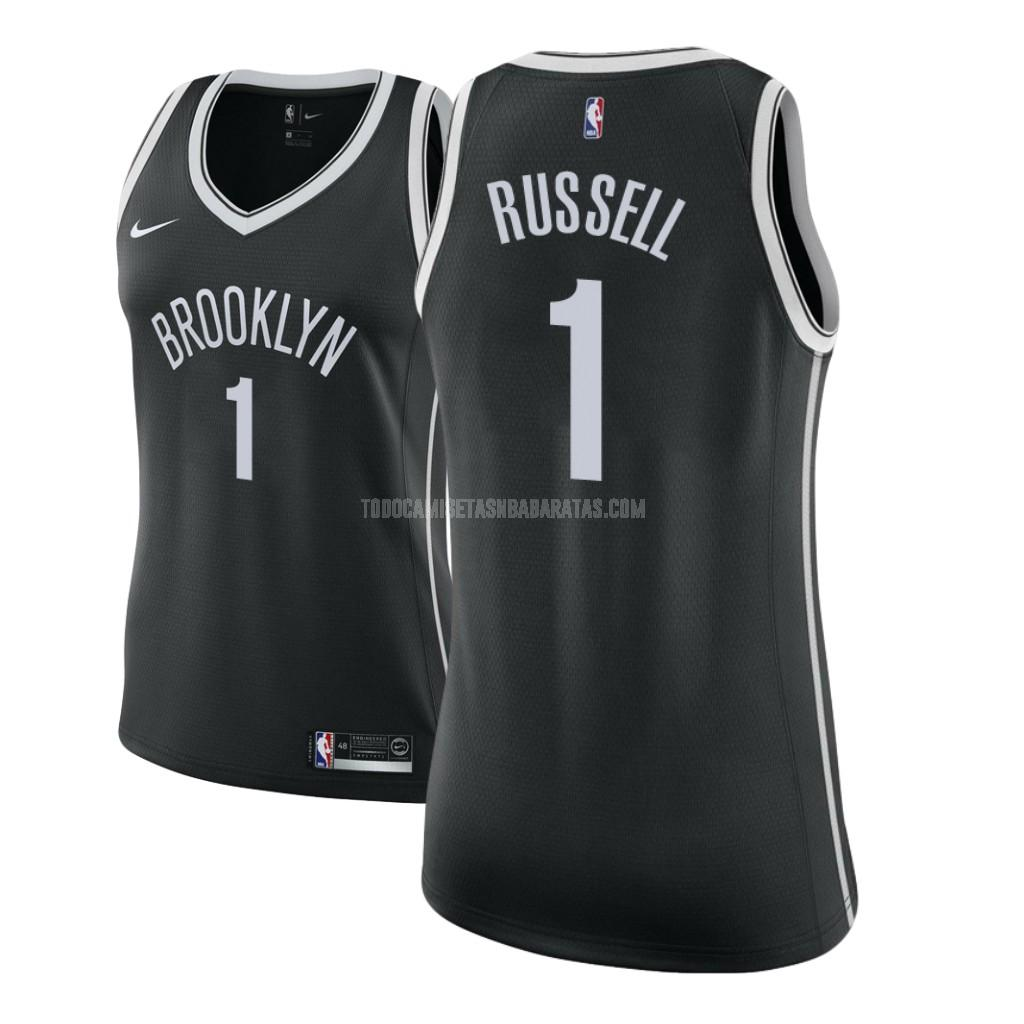 camiseta brooklyn nets d'angelo russell 1 negro icon mujer 2017-18