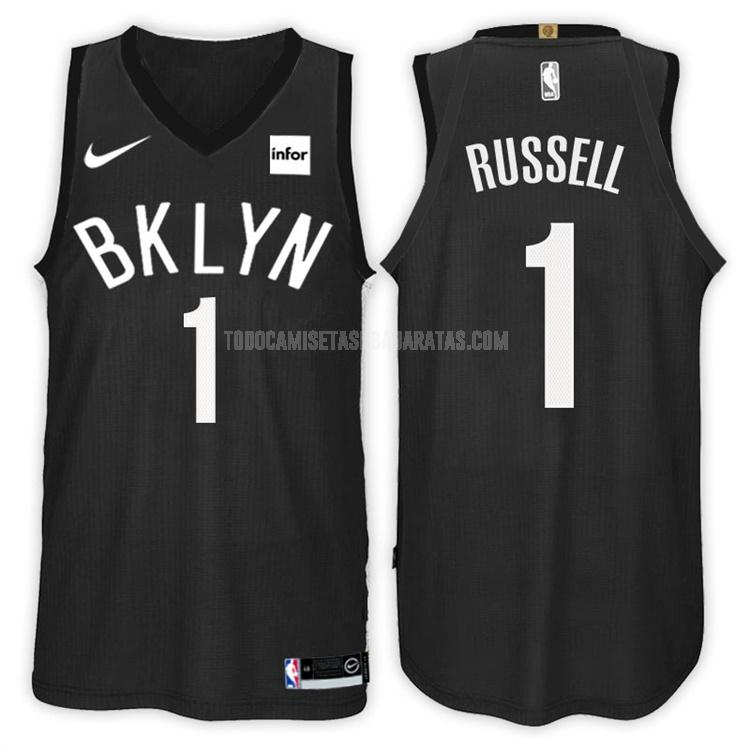 camiseta brooklyn nets d'angelo russell 1 negro statement hombres 2017-18