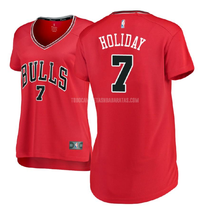 camiseta chicago bulls justin holiday 7 rojo icon mujer 2017-18