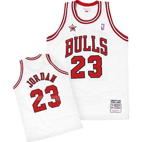 camiseta chicago bulls michael jordan 23 blanco nba all-star hombres 1998