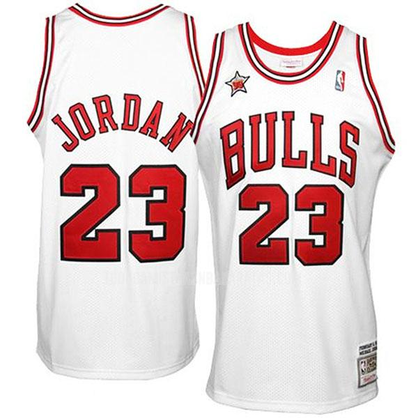 camiseta chicago bulls michael jordan 23 blanco throwback hombres 1998