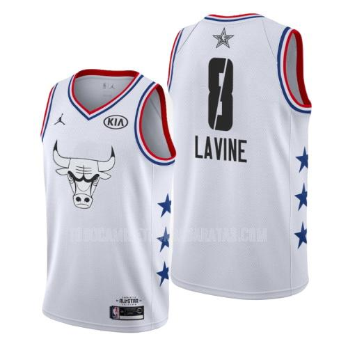 camiseta chicago bulls zach lavine 8 blanco nba all-star hombres 2019