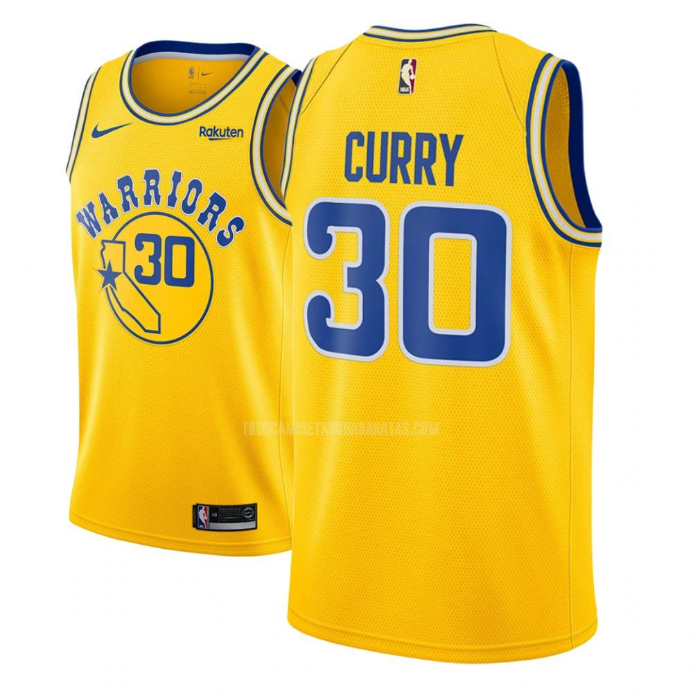 camiseta golden state warriors stephen curry 30 amarillo hardwood classic hombres