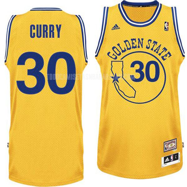 camiseta golden state warriors stephen curry 30 amarillo hardwood classics hombres