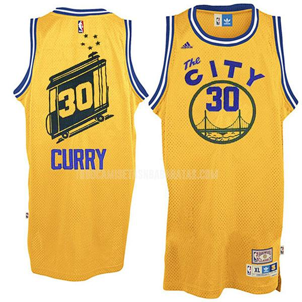 camiseta golden state warriors stephen curry 30 amarillo throwback hombres