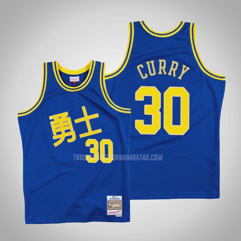camiseta golden state warriors stephen curry 30 azul año nuevo chino hombres