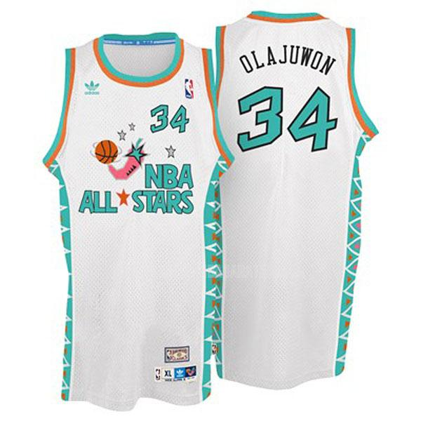 camiseta houston rockets hakeem olajuwon 34 blanco nba all-star hombres 1996