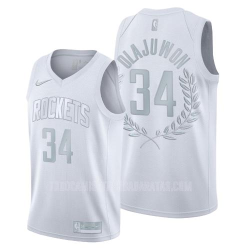 camiseta houston rockets hakeem olajuwon 34 blanco platinum limited glory retirado hombres