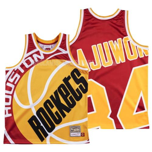 camiseta houston rockets hakeem olajuwon 34 rojo big face hombres