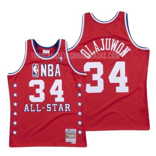 camiseta houston rockets hakeem olajuwon 34 rojo nba all-star hombres 1988