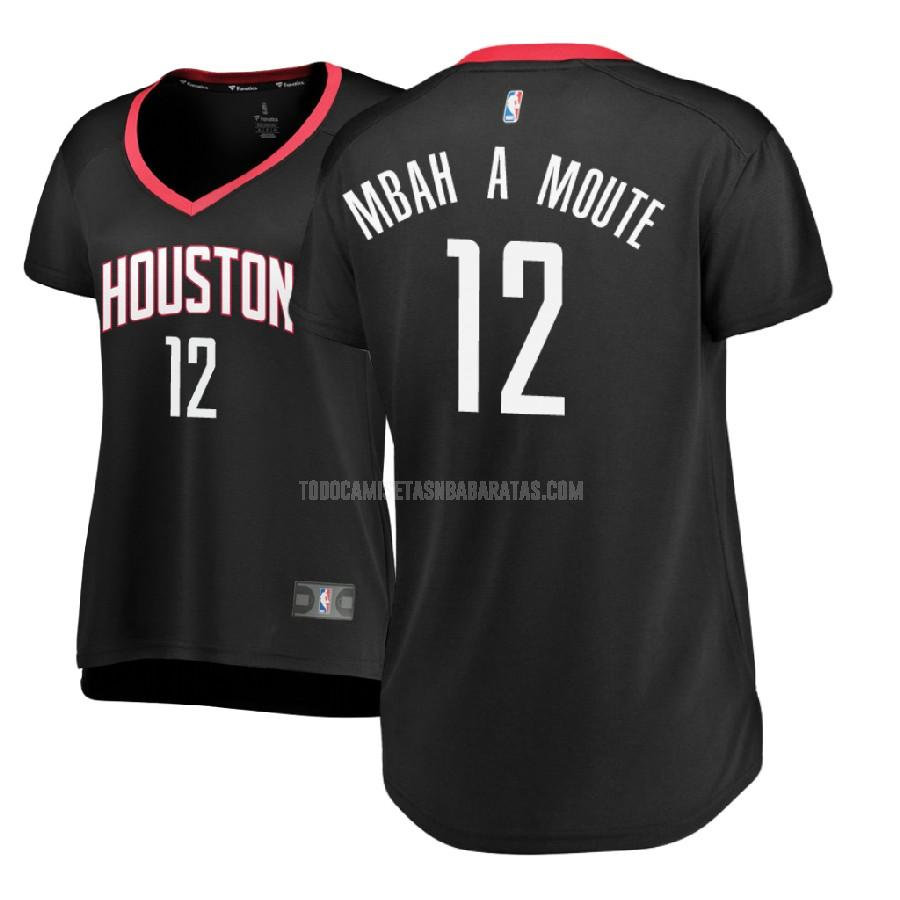 camiseta houston rockets luc mbah a moute 12 negro statement mujer 2017-18