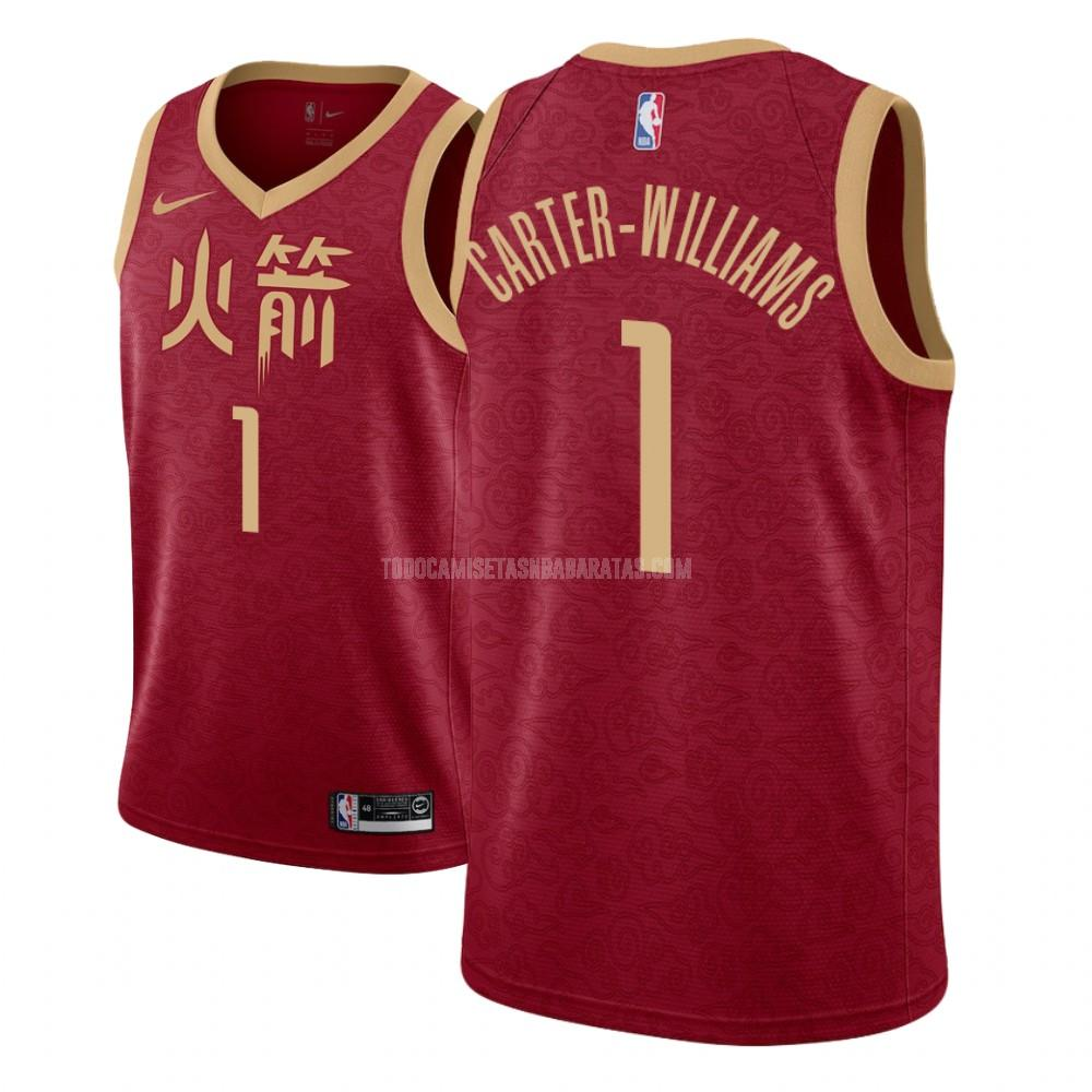camiseta houston rockets michael carter 1 rojo edición city hombres