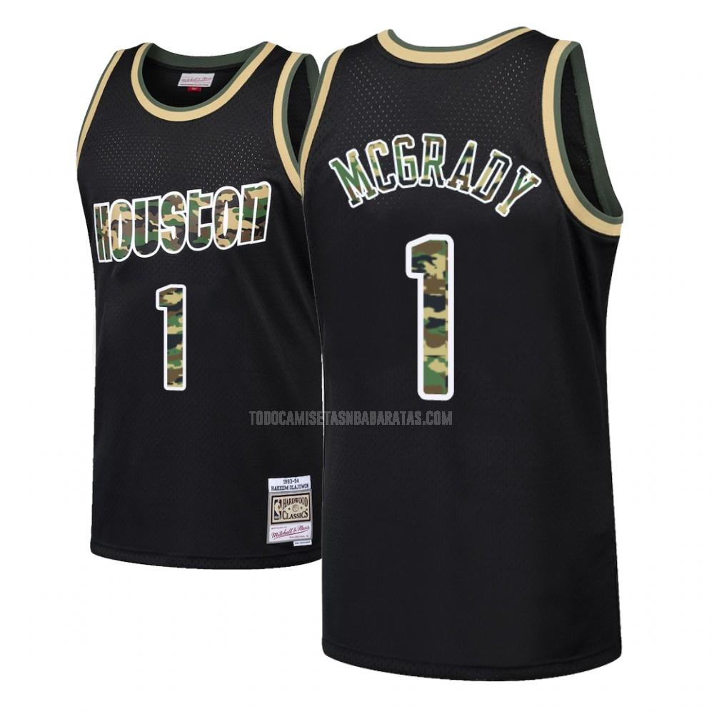 camiseta houston rockets tracy mcgrady 1 negro fuego directo hombres