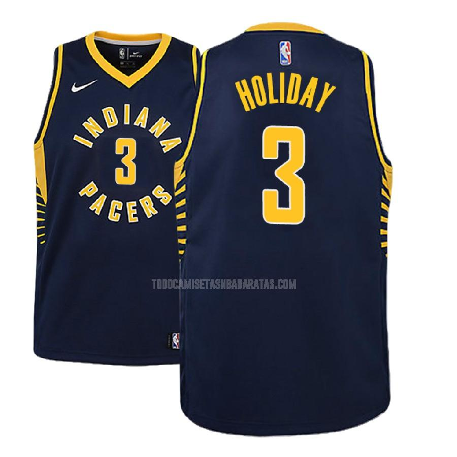 camiseta indiana pacers aaron holiday 3 azul marino icon niños 2018 nba draft
