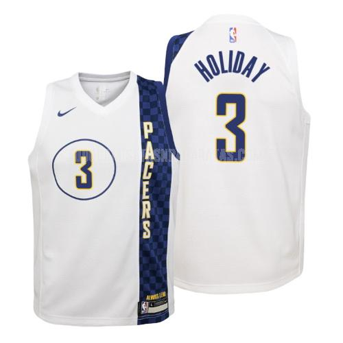 camiseta indiana pacers aaron holiday 3 blanco edición city niños 2019-20