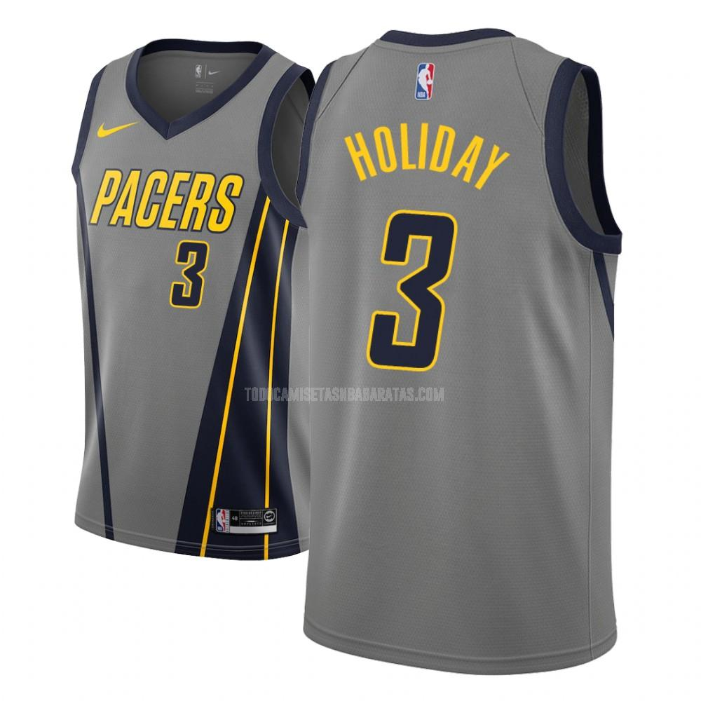 camiseta indiana pacers aaron holiday 3 gris edición city niños