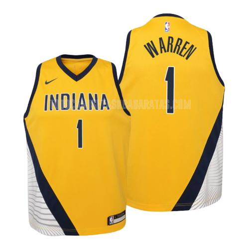 camiseta indiana pacers tj warren 1 amarillo statement niños