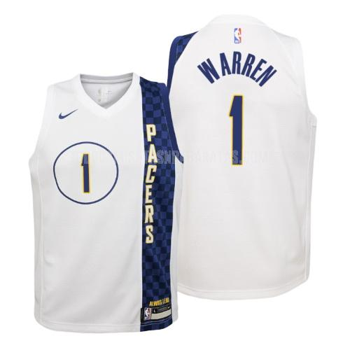 camiseta indiana pacers tj warren 1 blanco edición city niños 2019-20