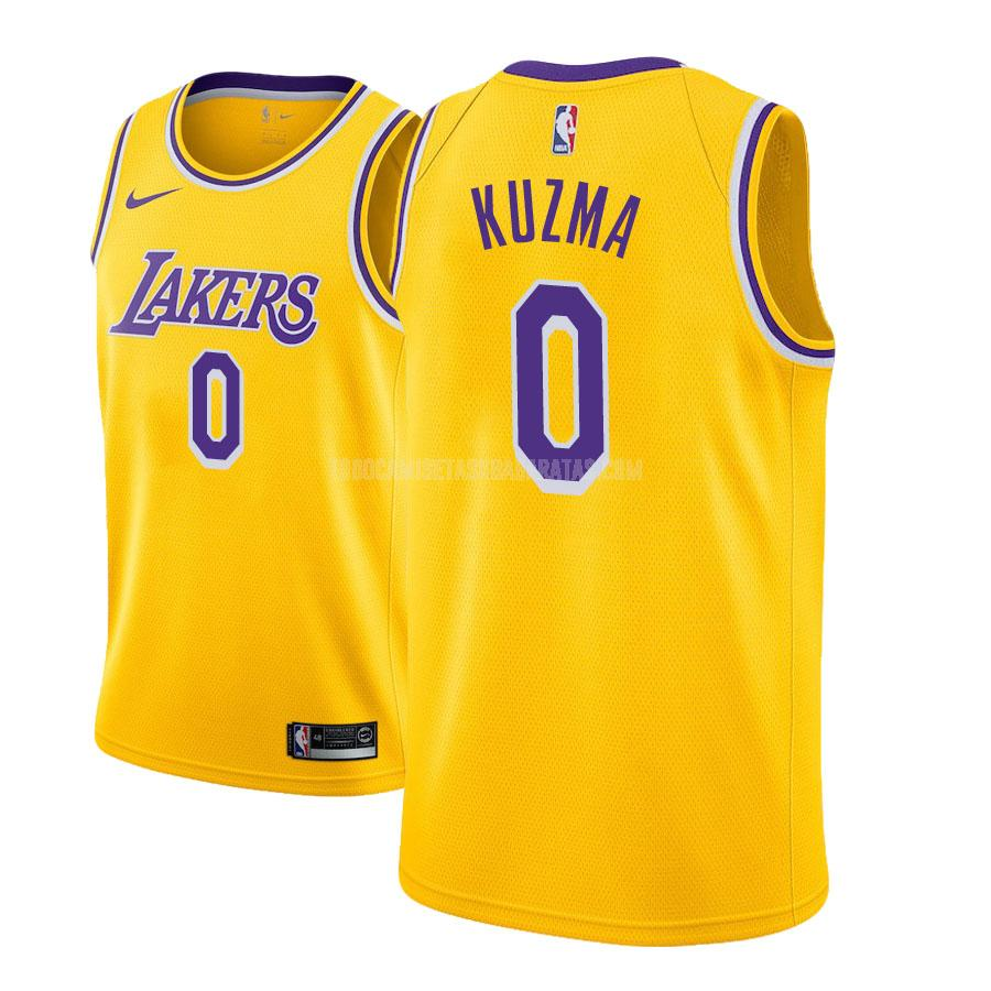 camiseta los angeles lakers kyle kuzma 0 amarillo icon hombres