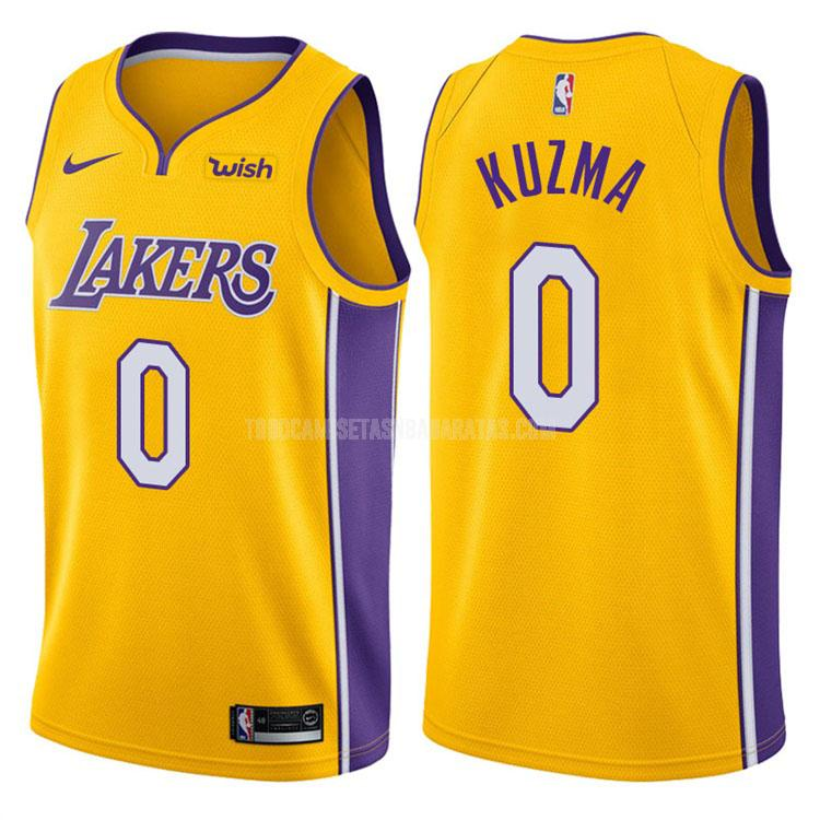 camiseta los angeles lakers kyle kuzma 0 amarillo icon hombres 2017-18