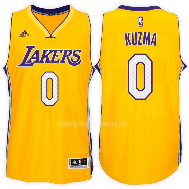 camiseta los angeles lakers kyle kuzma 0 amarillo primera hombres