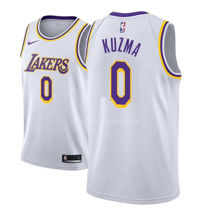 camiseta los angeles lakers kyle kuzma 0 blanco association hombres