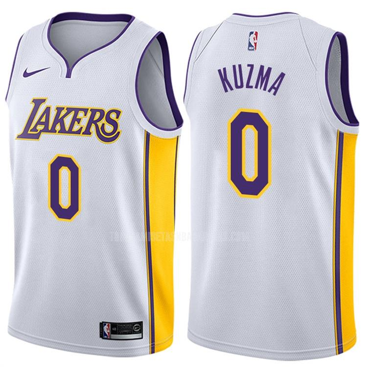 camiseta los angeles lakers kyle kuzma 0 blanco association hombres 2017-18