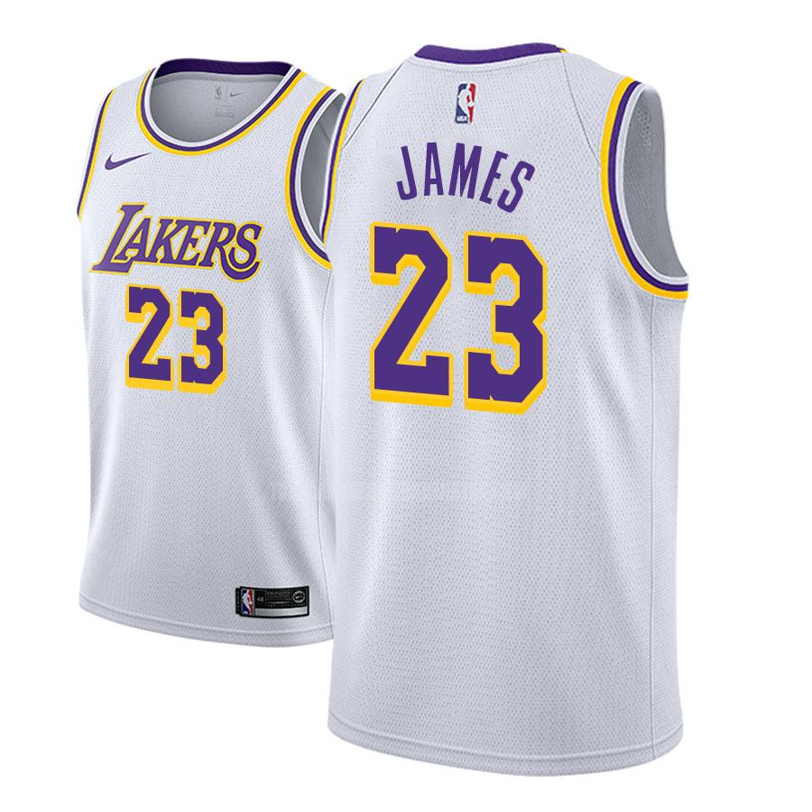 camiseta los angeles lakers lebron james 23 blanco association hombres