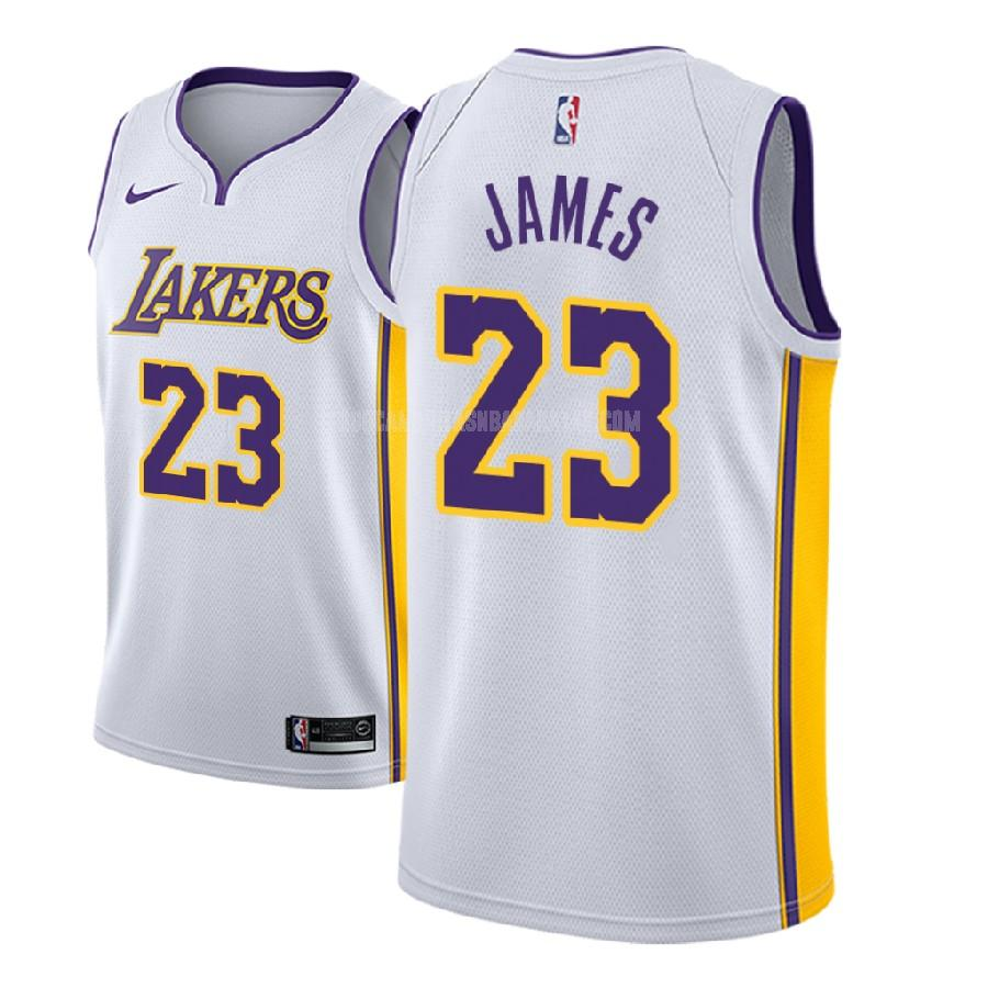 camiseta los angeles lakers lebron james 23 blanco association hombres 2018-19