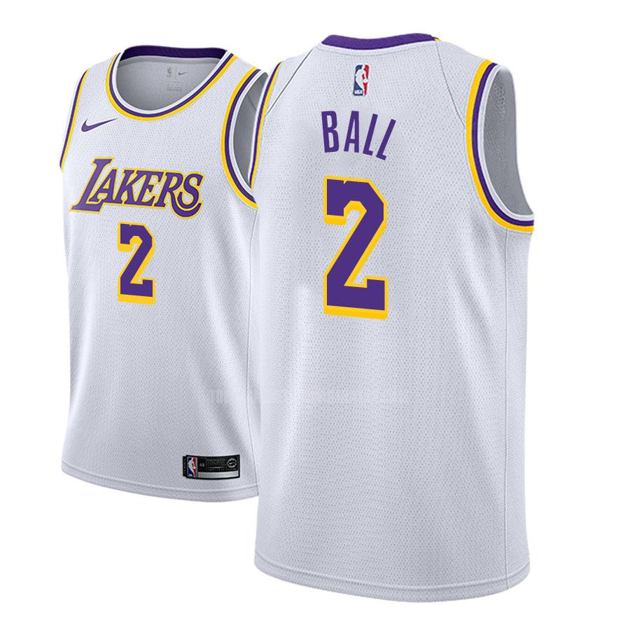 camiseta los angeles lakers lonzo ball 2 blanco association hombres