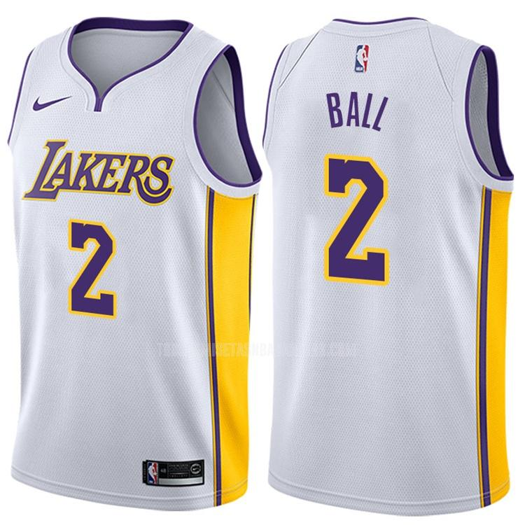 camiseta los angeles lakers lonzo ball 2 blanco association hombres 2017-18