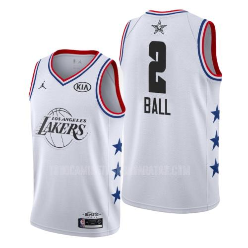 camiseta los angeles lakers lonzo ball 2 blanco nba all-star hombres 2019