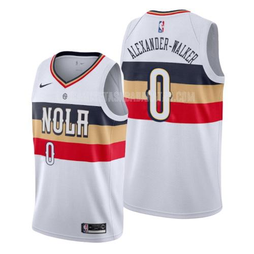 camiseta new orleans pelicans nickeil alexander-walker 0 blanco edición earned hombres