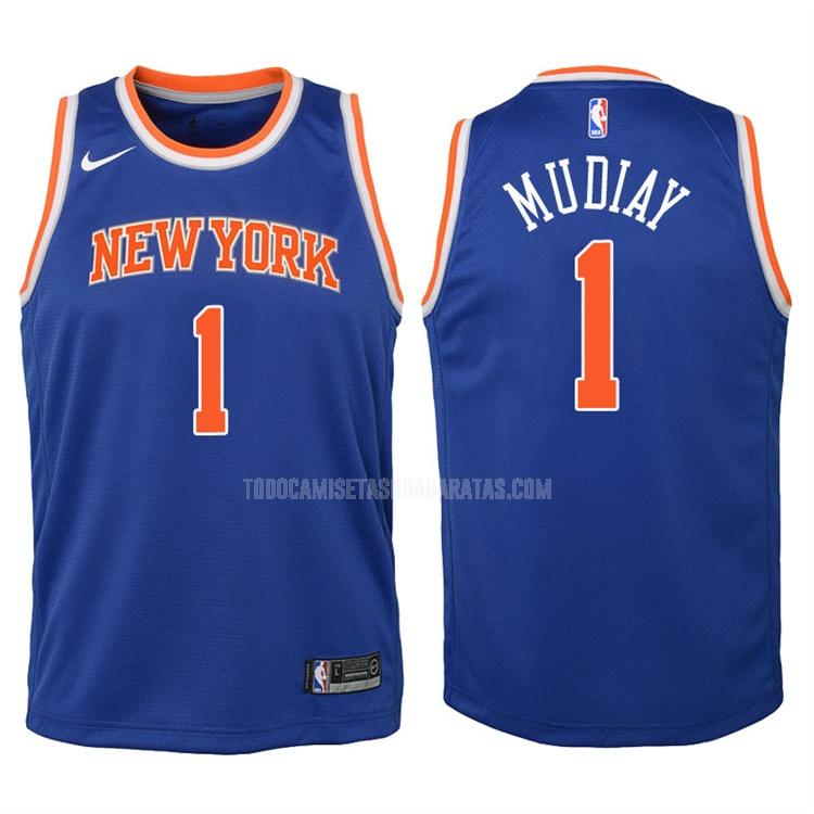 camiseta new york knicks emmanuel mudiay 1 azul icon niños 2017-18