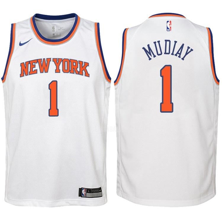 camiseta new york knicks emmanuel mudiay 1 blanco association niños 2017-18