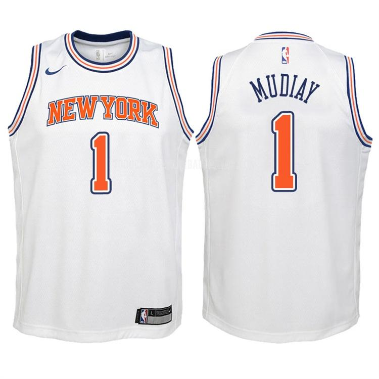 camiseta new york knicks emmanuel mudiay 1 blanco statement niños 2017-18