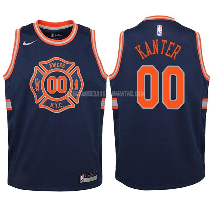 camiseta new york knicks enes kanter 0 azul marino edición city niños 2017-18