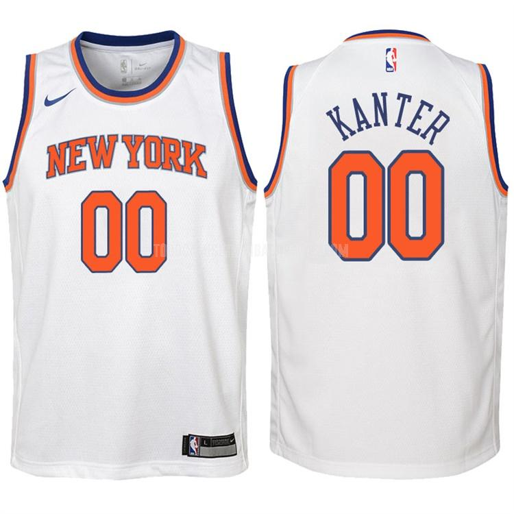 camiseta new york knicks enes kanter 0 blanco association niños 2017-18