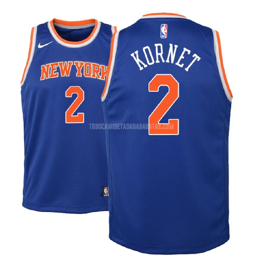 camiseta new york knicks luke kornet 2 azul icon niños 2018-19