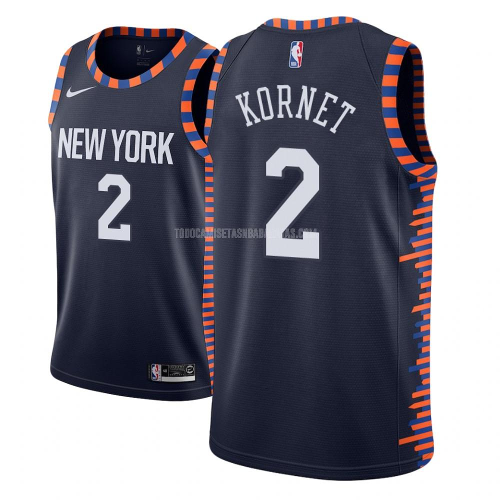 camiseta new york knicks luke kornet 2 azul marino edición city niños