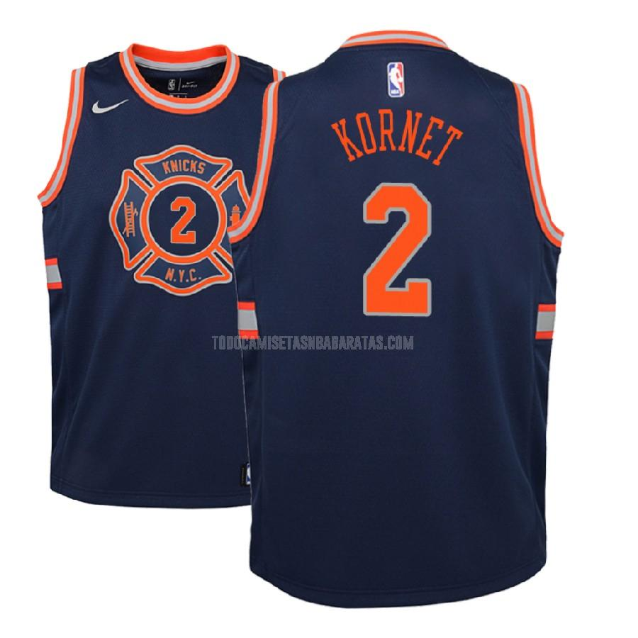 camiseta new york knicks luke kornet 2 azul marino edición city niños 2018-19