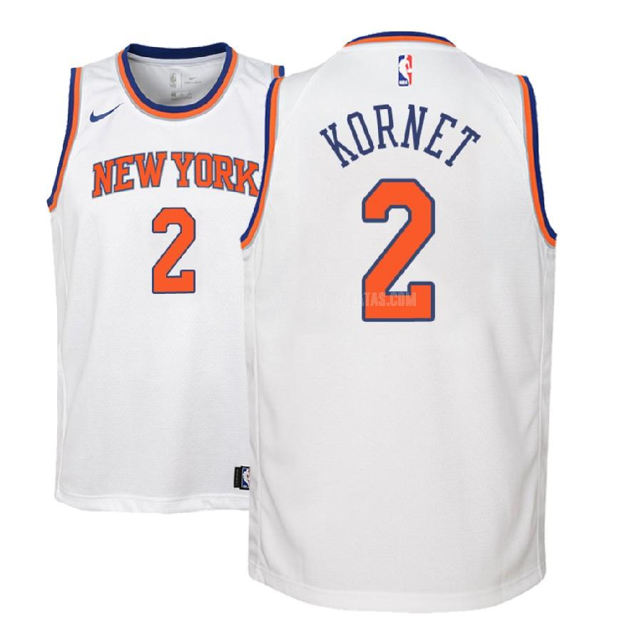 camiseta new york knicks luke kornet 2 blanco association niños 2018-19