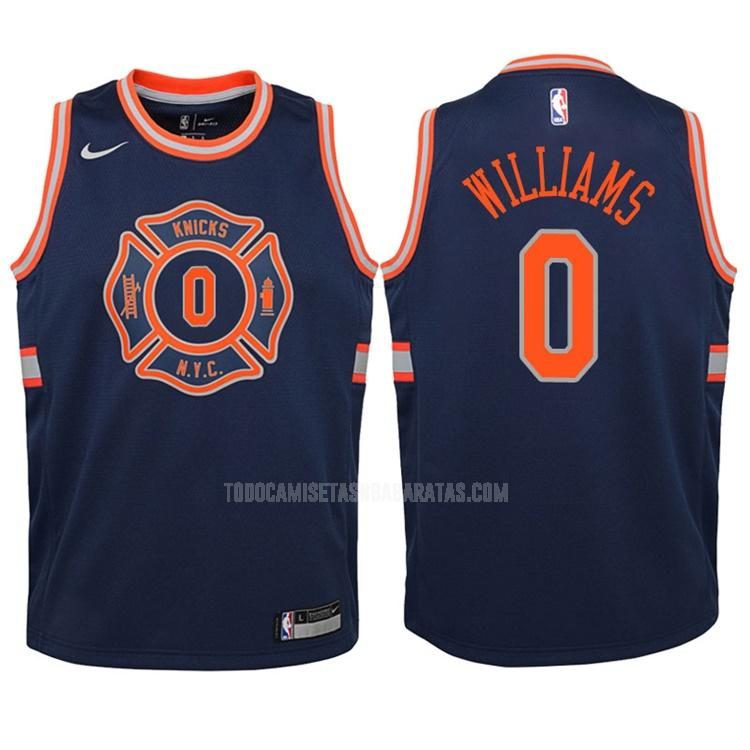 camiseta new york knicks troy williams 0 azul marino edición city niños 2017-18