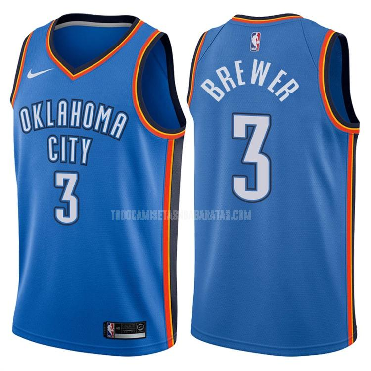 camiseta oklahoma city thunder corey brewer 3 azul icon hombres
