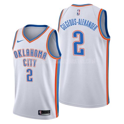 camiseta oklahoma city thunder shai gilgeous-alexander 2 blanco association hombres 2019-20