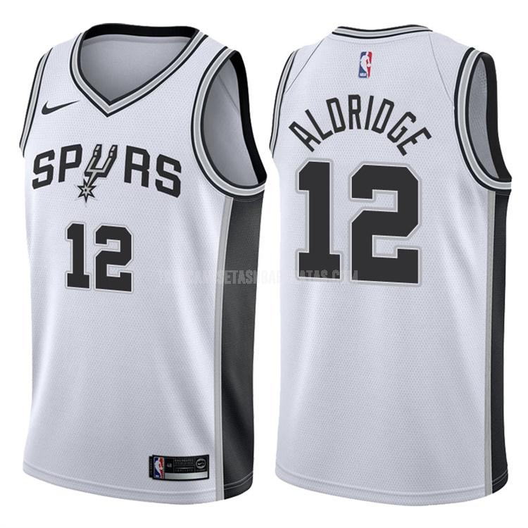 camiseta san antonio spurs lamarcus aldridge 12 blanco association hombres 2017-18